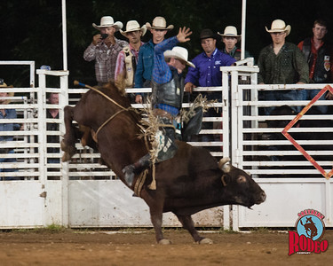 Bull riding at the 32nd Annual Shady Dale Rodeo Saturday June 6, 2015
