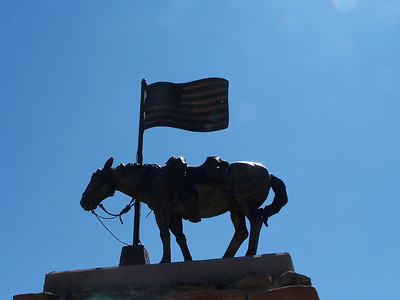 Statue in front of American Legion Post 43, Jackson Hole, Wyoming. 8.08