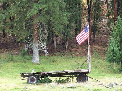 Labor Day tribute, flag on hay wagon, 9.2.08, near Salmon, Idaho.