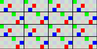 Video subsampling matrix. Cut out of Bayer matrix, another possible layout. Real matrix is unpublished by Pentax.