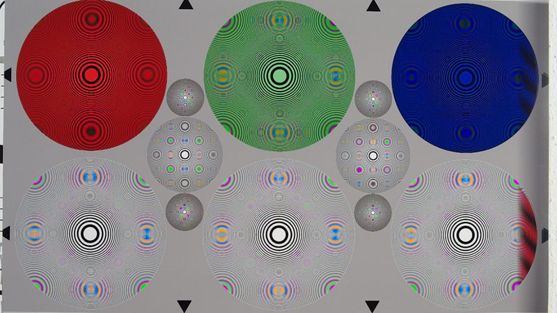 Video frame from 720p HD mode. Zone plate test chart using FA 31 Ltd. at f/4.5. The big circles have a resolution limit of 1080 LW/PH. The smaller ones are 2x and 4x. The Nyquist limit is at 720 LW/PH which is about 67% into the big circle. Watch the original at 100% size.