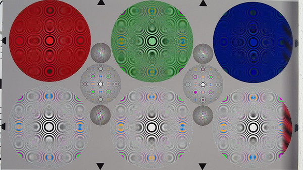 Video frame from 720p HD mode. Zone plate test chart using FA 31 Ltd. at f/4.5. The big circles have a resolution limit of 1080 LW/PH. The smaller ones are 2x and 4x. The Nyquist limit is at 720 LW/PH which is about 67% into the big circle. Watch the original at 100% size. The sampling frequency is clearly visible by the position of the four false color disks positioned at an 70% radius. The false color at and remaining artefacts beyond the sampling frequency is due to a missing video anti alias filter.  Note that the false color artifacts are significantly more intense than from the K-7, overall and esp. at 45°.  A similiar image for the Canon 5DmkII is visible here: http://reduser.net/forum/showpost.php?p=336034&postcount=1