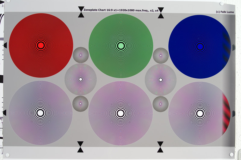 Zone plate test chart using FA 31 Ltd. at f/4.5. The big circles have a resolution limit of 1280 LW/PH. The smaller ones are 2x and 4x. The 4x circles at above ~4000 LW/PH have uncolored printing moiré. The Nyquist limit is at 2848 LW/PH which is about 55% into the smallest circle. Watch the original at 100% size.