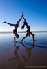 Myranda and Alyssa, yoga on Pacific Beach