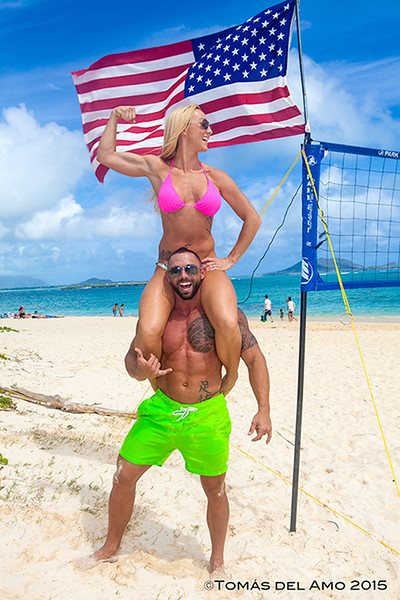 Fit Marine and his beautiful bride at Lanikai Beach.