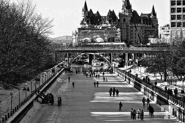 22, 2010  Rideau canal is open for skating  Entry for the DSS #42 (Photojournalism - Exclusive Black and White Challenge) January