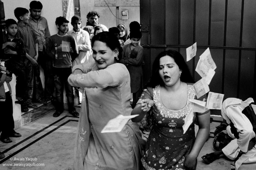 Hijra or third gender dancing on wedding
