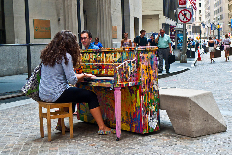 """""""Play Me, I'm Yours""""<br /> <br /> An artwork by British artist Luke Jerram who has been touring the project globally since 2008. Presented in NYC by Sing for Hope, 60 refurbished pianos were installed in public parks, streets and plazas."""