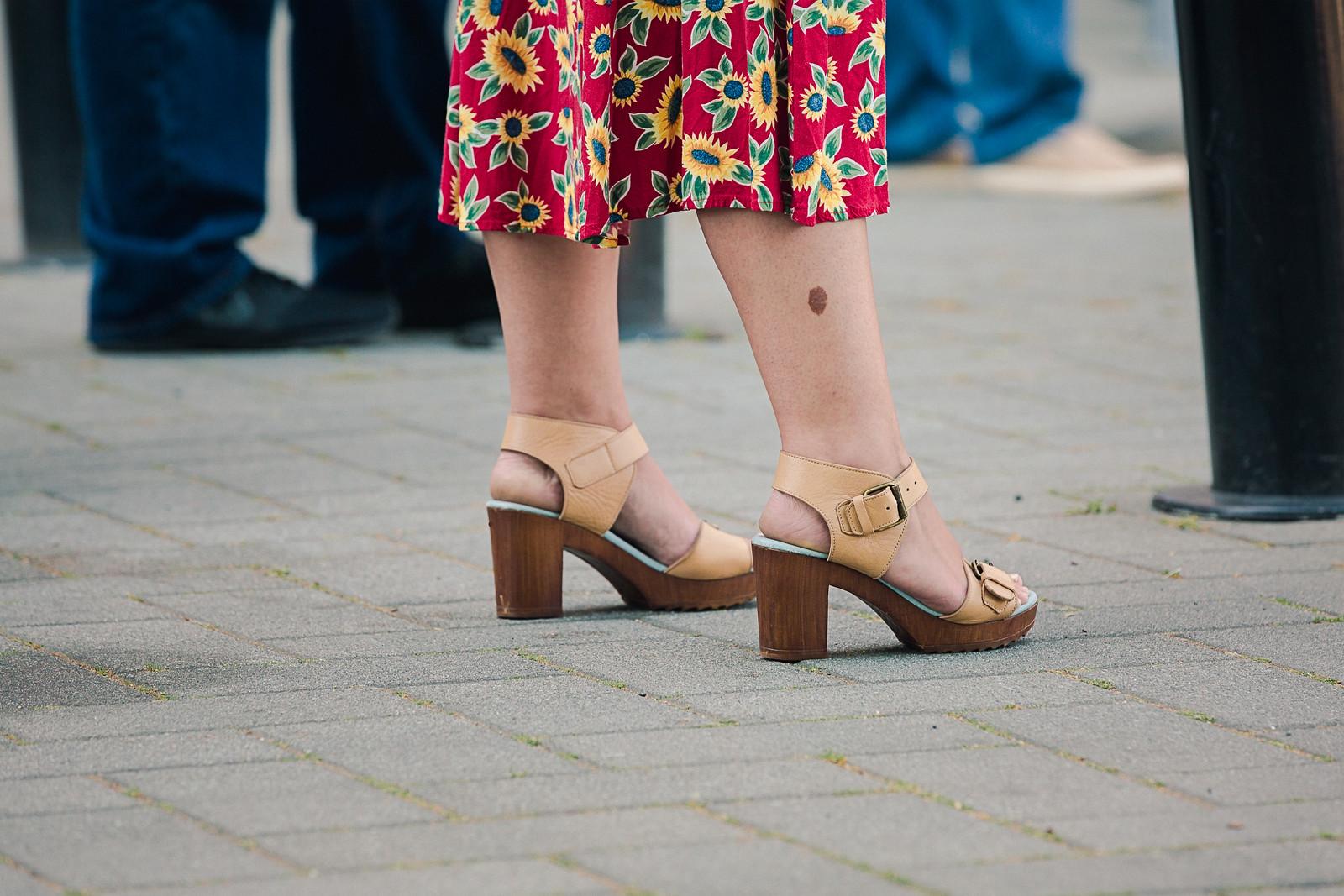 Sunflower Dress, High Heels, Beauty Mark