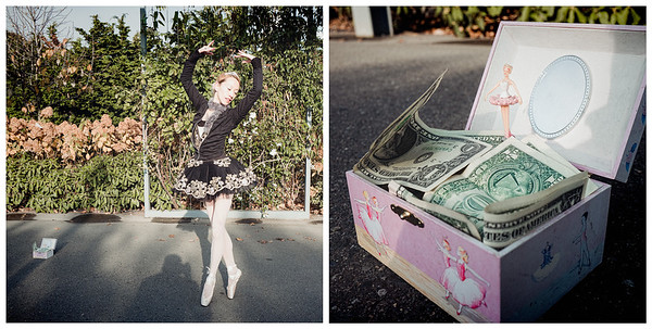 A ballerina dances for money near the Space Needle.