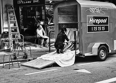 Workers remodeling a restaurant along Cuba street in Wellington, NZ.