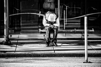 Man on Bus Bench - Front