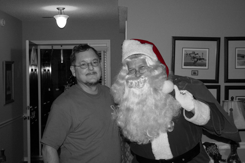 Dad and Santa (with a red hat)