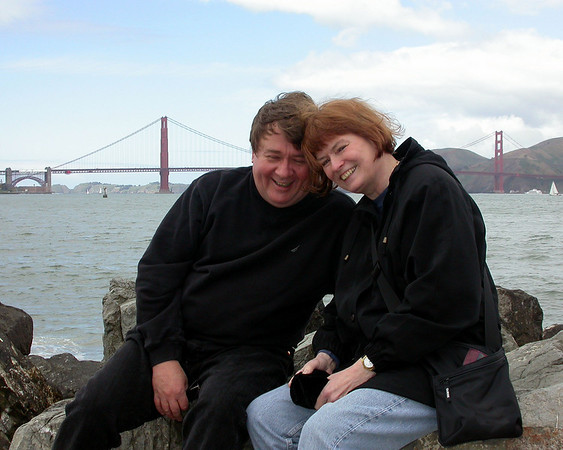 Don and Pat on San Francisco Bay, with the Golden Gate Bridge over their shoulders.