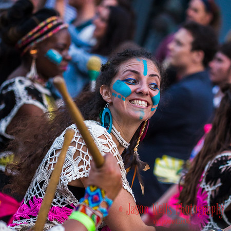 Girl from Liverpool's Katumba Bloco drumming troupe