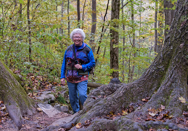 Kay on the trail up to the Natural Bridge in Kentucky, fall 2016.