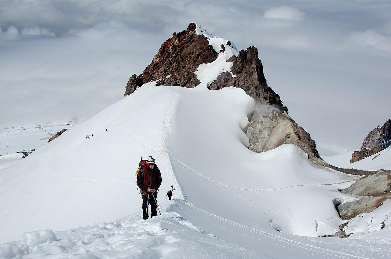 Climber on Hogsback.  Mt. Hood, OR.