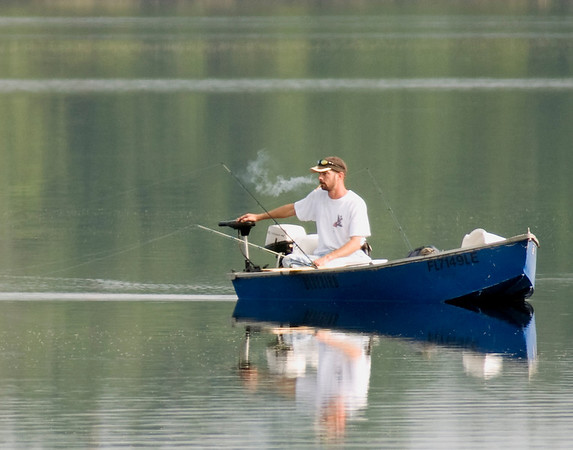 A fisherman out on Lake Hernando (shot from our dock).