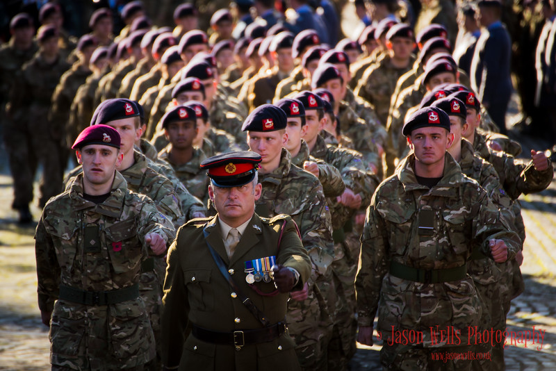 Soldiers parading at Remembrance Sunday in Liverpool.