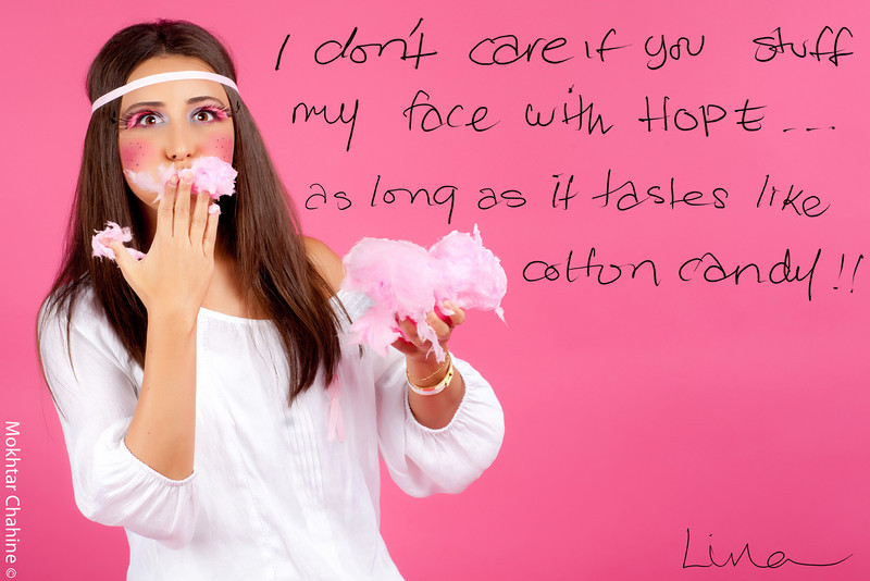 """""""Munching on Hope""""<br /> <br /> I don't care if you stuff my face with Hope...<br /> ...As long as it tastes like cotton candy !!<br /> <br /> Photography : Mokhtar Chahinefor better viewing quality please visit: <a href=""""http://www.mokhtarchahine.com/Projects/PINK"""">http://www.mokhtarchahine.com/Projects/PINK</a><br /> <br /> Photography : Mokhtar Chahine<br /> Photography Concept & Direction : Hala Dakhil<br /> Make-Up : Inas Hammoud"""