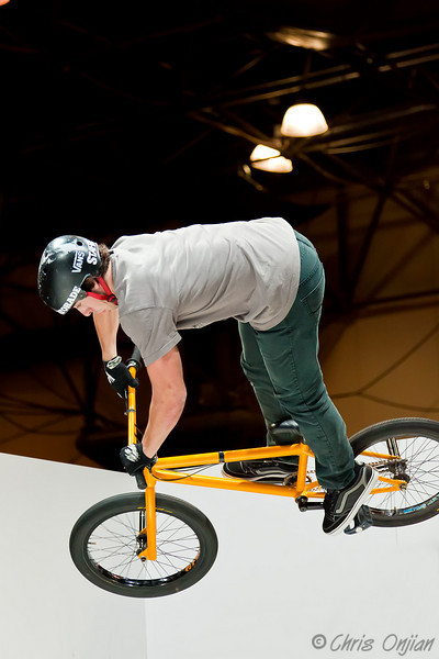 Some guy doing bike tricks at the Nikon booth during PhotoPlus Expo 2010