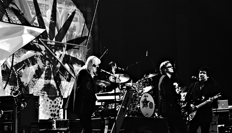 Edgar Winter, Richard Page, Wally Palmar and Ringo Starr in black & white. (Moscow, 2011)