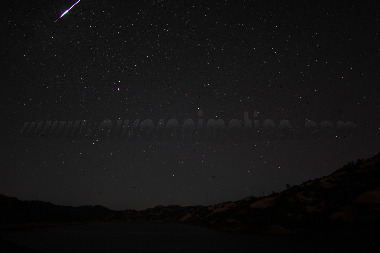 A bright Perseid fireball captured at 3:58 am (PDT) on August 12, 2012. The scenery is lightly illuminated by a waning crescent Moon. <br /> <br /> Location: Lake Berryessa, Northern California<br /> Camera: Canon EOS 5D Mark II - Lens: Canon EF 24mm f/1.4 L
