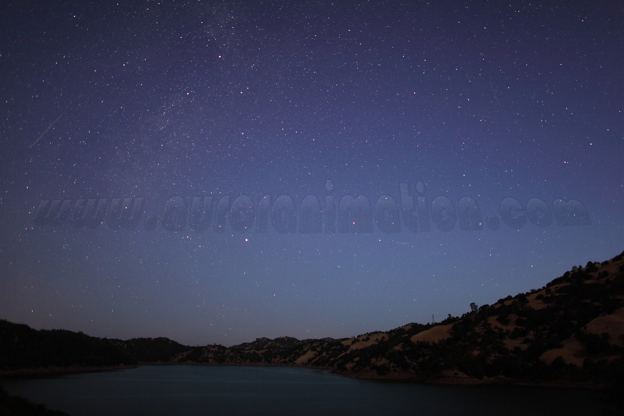 A faint Perseid meteor captured at 5:10 am (PDT) on August 12, 2012 during astronomicial twilight. The scenery is illuminated by a waning crescent Moon.  <br /> <br /> Location: Lake Berryessa, Northern California<br /> Camera: Canon EOS 5D Mark II - Lens: Canon EF 24mm f/1.4 L