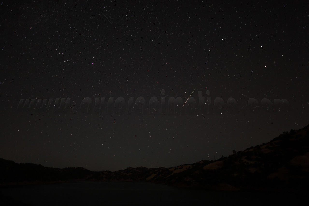 A rainbow colored Perseid captured at 3:46 am (PDT) on August 12, 2012. The scenery is lightly illuminated by a waning crescent Moon. <br /> <br /> Location: Lake Berryessa, Northern California<br /> Camera: Canon EOS 5D Mark II - Lens: Canon EF 24mm f/1.4 L