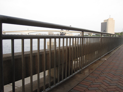 Peeking at a bridge from the Jacksonville Florida Riverwalk