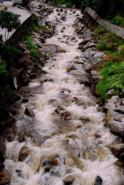 River Flowing Through Machu Picchu Village
