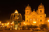 #Pe 007 Night View of Fountain and Cathedral, Plaza de Armas, Peru