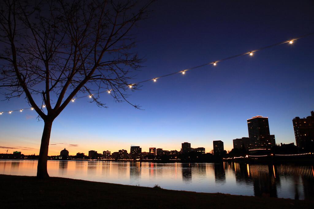 Oakland skyline as reflected in Lake Merrit. November 9th.
