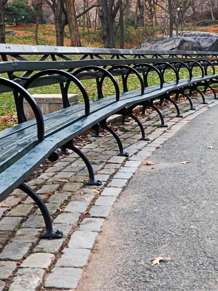 Empty benches, Central Park, New York City, NY. Dec 5th.