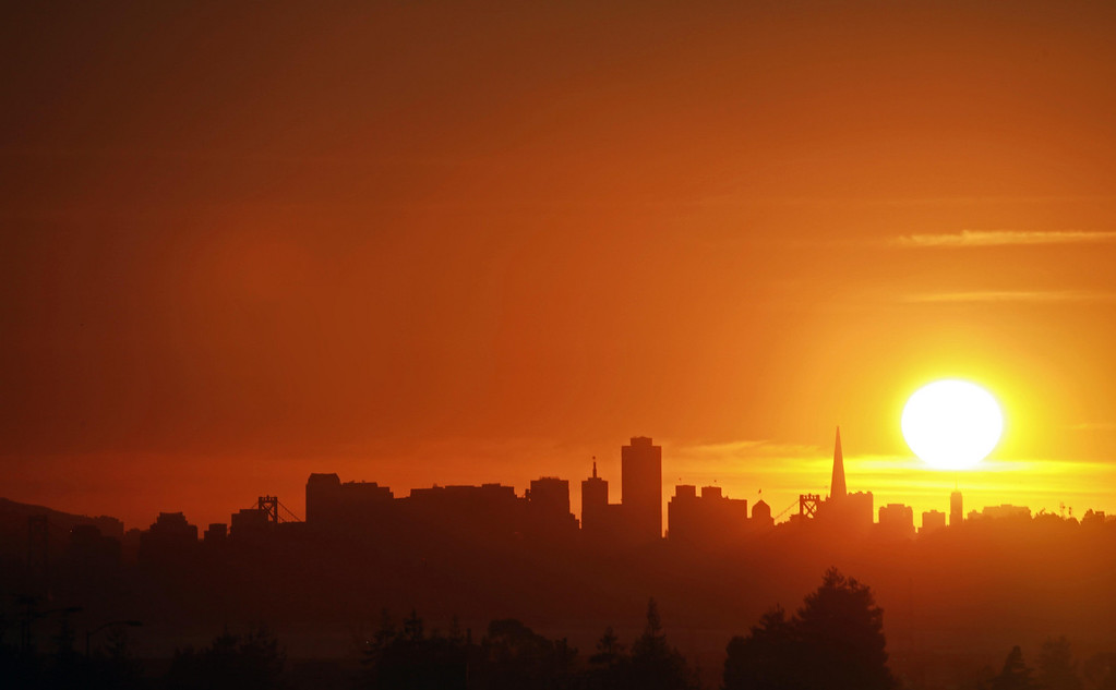 San Francisco skyline and a yellow setting sun. November 4th.