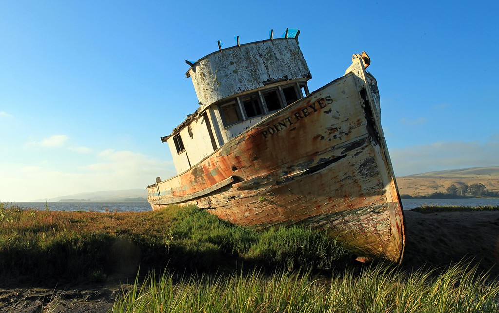 No boat lies ashore without some tale to tell. Regretably, neither the captain nor the crew was at hand to speak of the mighty storm that deposited this once proud boat onto the sand bank that became its final resting place. Inverness, CA. June 21st.