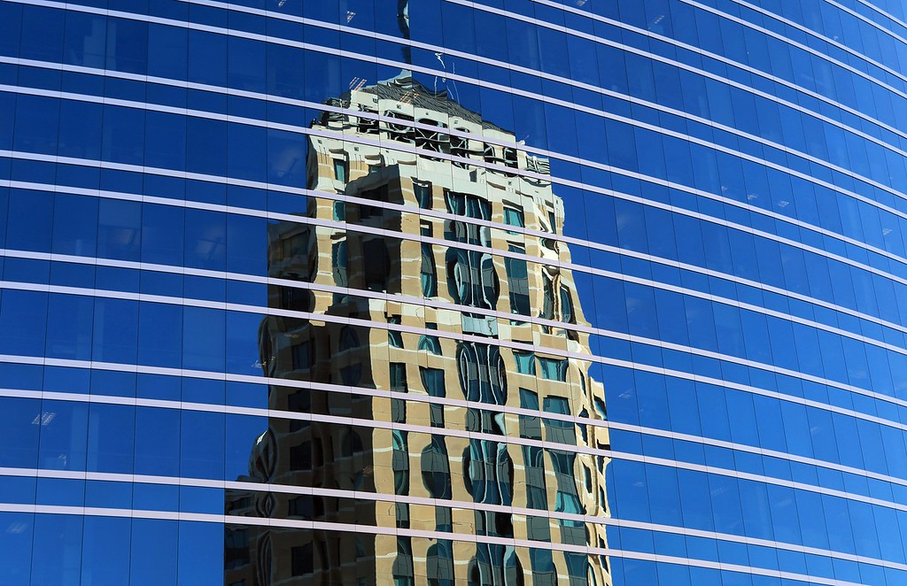 A reflection of the Federal Building in downtown Oakland. August 21st, Oakland, CA