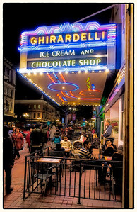 In San Diego, the Ghirardelli Store is a popular place to hang out.