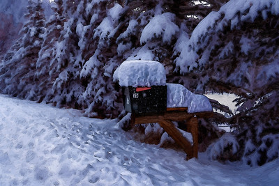 The first snow near Forest Lakes, Colorado drop a thick mantle upon rural mail boxes.