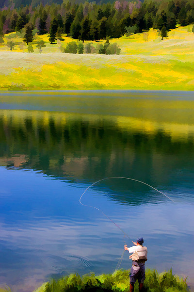 Fly fisherman, Yellowstone National Park