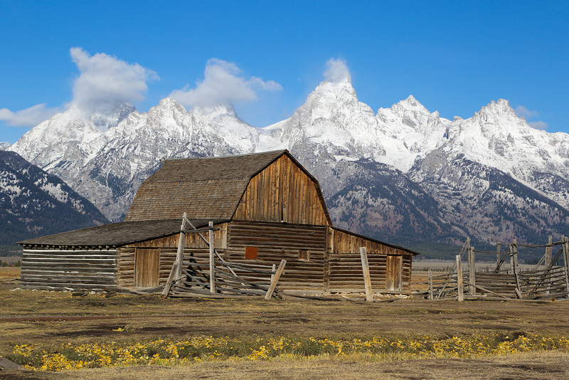 I took this photo of the Northern Moulton Barn mid morning.  These are the most photographed barns in the world because of the dramatic backdrop of the Teton's.