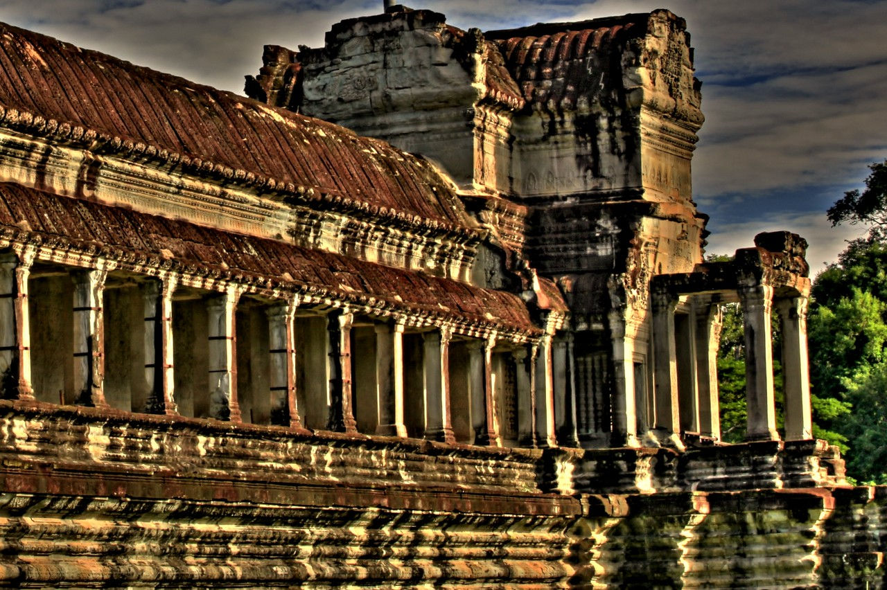 Gallery at the famous Angkor Wat temple in Siem Reap.