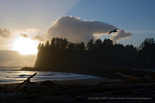 "071224 First Beach Sunset. Full collectino of images form a Christmas visit to the Olympic Peninsula here -  <a href=""http://www.troutstreaming.com/gallery/4061437_xfqCM#236804411"">http://www.troutstreaming.com/gallery/4061437_xfqCM#236804411</a> Image Copyright © 2007 J. Andrew Towell for Troutstreaming  outdoor and sports media. All Rights Reserved. Please contact the copyright holder at troutstreaming@gmail.com to discuss any and all usage rights ."