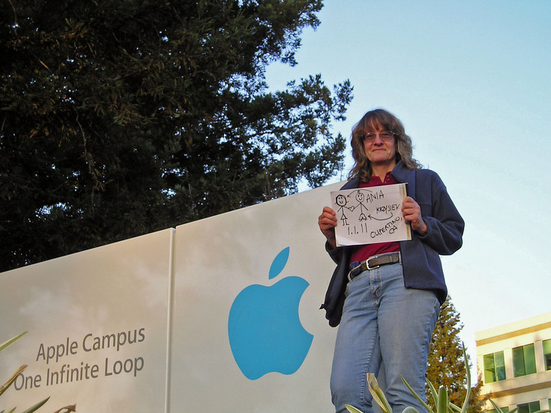 Jan 7: Self-portrait at Apple Computer headquarters. This was a snapshot for a group online project having nothing to do with photography (hence the hand-written sign), but I spent an amazing amount of time trying to get the angle and composition the way I liked it.