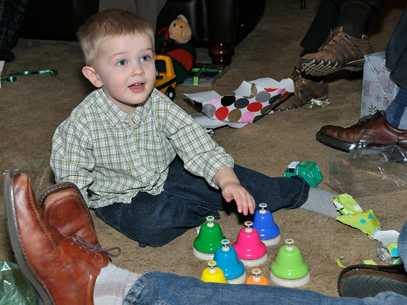 27 Dec 2012: Ethan playing his bells