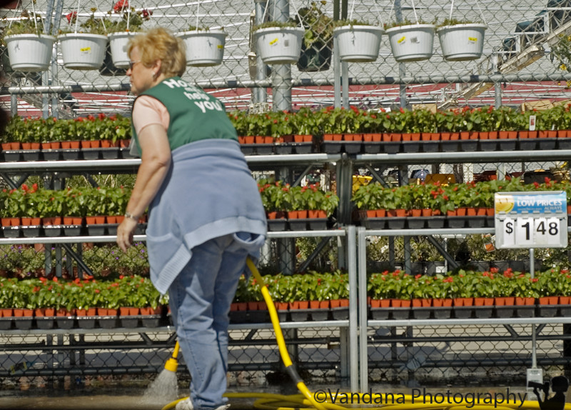 April 29, 2006 - back in the US ! time gain of 12 hrs makes the almost 24 hr flight time seem less. grocery shopping for food gets me this lady watering the $1.48 plants.
