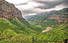"""August 15, 2006 - Telluride from the top, Colorado  the view from the top of <a href=""""http://vandana.smugmug.com/gallery/1773243/1/88488886/Large"""">Bridal Veil falls</a>.Coming down from the trail,got caught in a thunderstorm, coming down finally awfully cold, drenched to the bone in cold rain..only the camera found some protection :) I guess the clouds here should've given some warning !"""