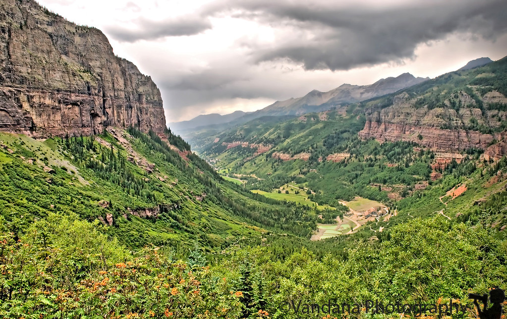 August 15, 2006 - Telluride from the top, Colorado  the view from the top of Bridal Veil falls.Coming down from the trail,got caught in a thunderstorm, coming down finally awfully cold, drenched to the bone in cold rain..only the camera found some protection :) I guess the clouds here should've given some warning !