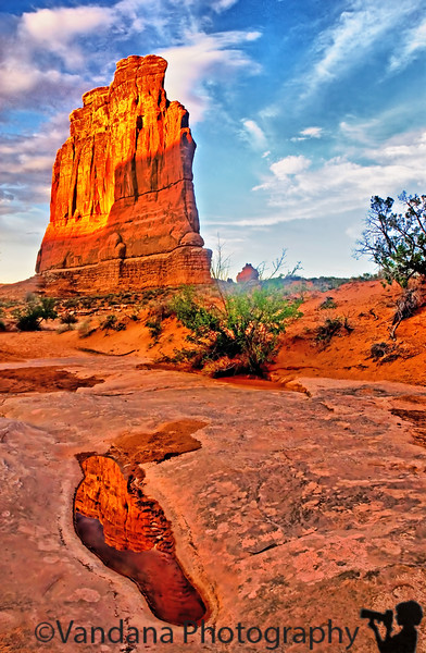 August 16, 2006 - 'the Courthouse', Arches National Park, UT. A little detour into Arches from Colorado!! Make it at late evening into Moab,UT..I just love noticing the puddle here with reflection! I have to thank my DP community for the many inspiring puddle shots !