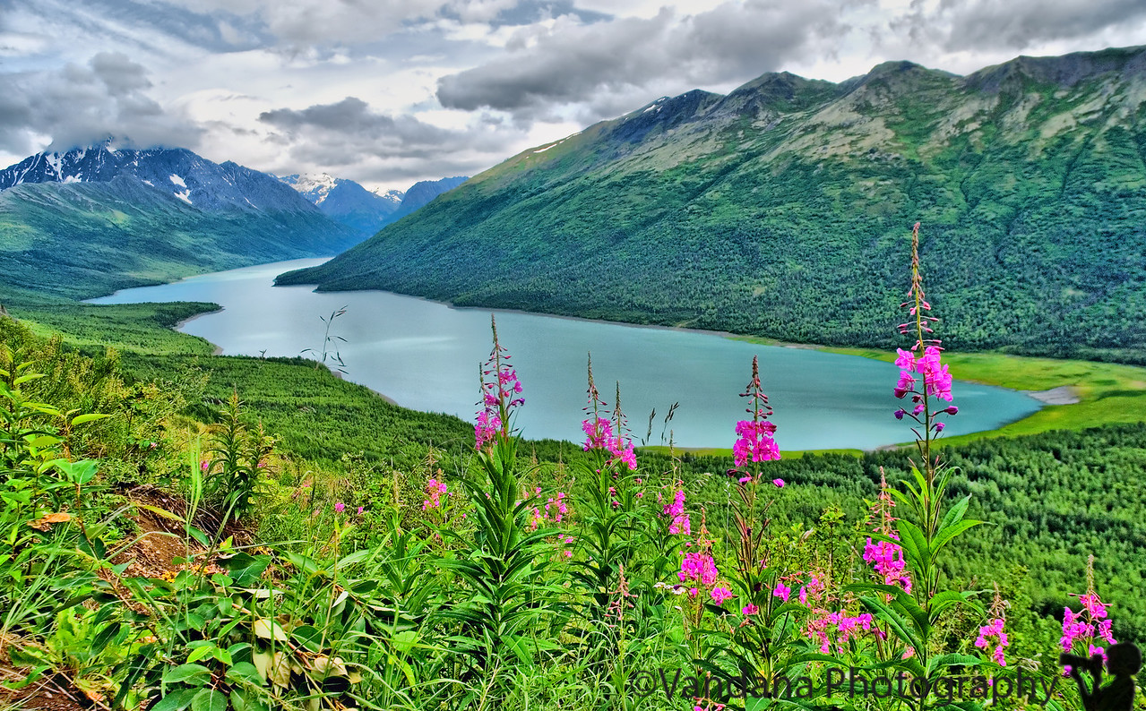 July 23, 2007 - Eklutna lake - the view after a steep 2.6 mile ascent on the Twin Peaks Trail, Chugach State Park, AK.  Posted @ 4.00 am in Anchorage Airport, on the way to Kodiak Island for a bear-viewing float plane ride; bear with me :)